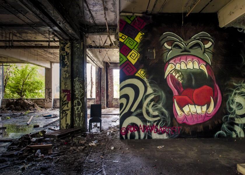 Inside Packhard plant ruins